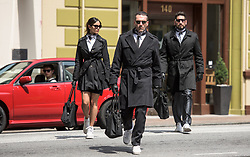 (l to r) Baby (ANSEL ELGORT), Darling (EIZA GONZALEZ), Buddy (JON HAMM) and Griff (JON BERNTHAL) are dropped off at the bank in TriStar Pictures' BABY DRIVER.