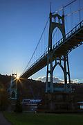 USA, Oregon, Portland, Cathedral Park, St. John's Bridge, digital composite, HDR.