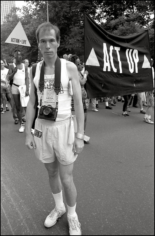 Kevin Smith of ACT UP marches in the Gay Pride Parade in New York City in June, 1990.