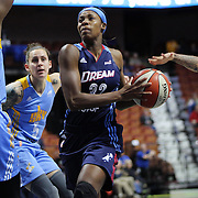 UNCASVILLE, CONNECTICUT- MAY 05:  Bria Holmes #32 of the Atlanta Dream drives to the basket during the Atlanta Dream Vs Chicago Sky preseason WNBA game at Mohegan Sun Arena on May 05, 2016 in Uncasville. (Photo by Tim Clayton/Corbis via Getty Images)