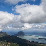 View of Le Morne Brabant and the West Coast of Mauritius from the highest peak in Mauritius, Black River Peak, a peak in Black River Gorges National Park, Mauritius.