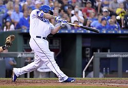 August 23, 2017 - Kansas City, MO, USA - The Kansas City Royals' Mike Moustakas connects on a single in the second inning against the Colorado Rockies at Kauffman Stadium in Kansas City, Mo., on Wednesday, Aug. 23, 2017. (Credit Image: © John Sleezer/TNS via ZUMA Wire)