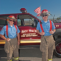 Fireman prepare to ride in the 4th of July parade in Butte, Montana.