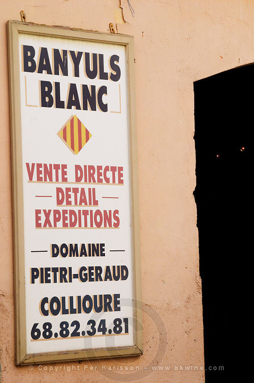 Banyuls blanc, white, direct sales. Collioure. Domaine Pietri-Geraud Roussillon. France. Europe.
