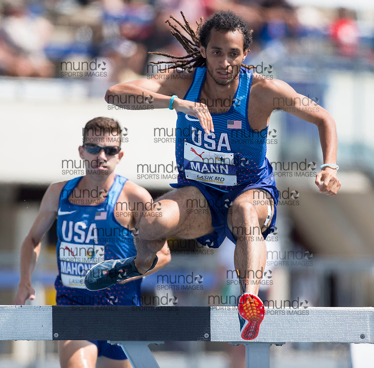 Toronto, ON -- 12 August 2018: Jordan Mann (USA), bronze 3000m steeple chase at the 2018 North America, Central America, and Caribbean Athletics Association (NACAC) Track and Field Championships held at Varsity Stadium, Toronto, Canada. (Photo by Sean Burges / Mundo Sport Images).