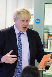 Michaela Community School, Wembley, London, June 23rd 2015. Mayor of London Boris Johnson visits the Michaela Community School, a Free School in Wembley that started taking students in September2014 after battling a certain amount of resistance from locals and unions. During the visit Head Teacher Katharine Birbalsingh took the Mayor on a tour of the school before he participated in a history lesson, prior to sitting down with pupils for brunch. PICTURED: Mayor Boris Johnson participates in a history class.