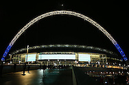 a General view of outside Wembley Stadium with a half moon above the arch ahead of tonight's match. UEFA Champions league match, group E, Tottenham Hotspur v CSKA Moscow at Wembley Stadium in London on Wednesday 7th December 2016.<br /> pic by John Patrick Fletcher, Andrew Orchard sports photography.