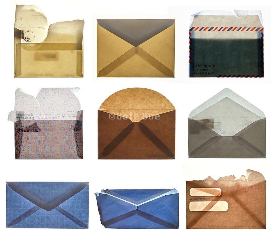 collage with various envelopes