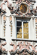 Rococo style Baroque architecture with Golden Roof reflection in Herzog Friedrich Strasse in Innsbruck, the Tyrol, Austria