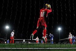 Stevenage's Chris Day makes a save - Photo mandatory by-line: Mitchell Gunn/JMP - Tel: Mobile: 07966 386802 22/02/2014 - SPORT - FOOTBALL - Broadhall Way - Stevenage - Stevenage v Crewe Alexandra - League One