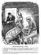 "Indiscriminate Dope. The Horse (addressing John Bull). ""It's all right, guv'nor. This isn't meant to make me try any harder. It's just a comforting drug."" John Bull. ""If this goes on, somebody will have to be warned off the course."" [It is widely recognised that the serious increase in the number of the unemployed cannot be entirely explained by ""world causes,"" but is due in part to the government's method of administration, which encourages abuse of the dole by those are not honestly seeking work.] (an InterWar cartoon shows Prime Minister Ramsay MacDonald feeding race horse The Slacker with a bucket of Dole)"