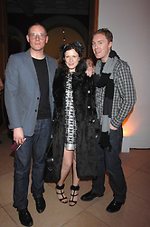 Left to right, GILES DEACON, KATIE GRAND and STUART VEVERS Design Director at Mulberry at the opening party for 'Face of Fashion' an exhibition of photographs by five of the World's leading fashion photographers held at the National Portrait Gallery, St.Martin's Lane, London on 12th February 2007.<br /><br />NON EXCLUSIVE - WORLD RIGHTS