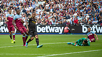 Football - 2019 / 2020 Premier League - West Ham United vs. Manchester City<br /> <br /> Gabriel Jesus (Manchester City) looks towards the linesman befoe his goal was ruled out by VAR at the London Stadium<br /> <br /> COLORSPORT/DANIEL BEARHAM
