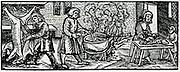 Threshing with flails. Woodcut from 'Calendarum Romanum Magnum',  1518.