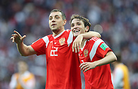 Football - 2018 FIFA World Cup - Group A: Russia vs. Saudi Arabia<br /> <br /> Mario Fernandes and Artem Dzyuba of Russia celebrate at full time at the Luzhniki Stadium, Moscow.<br /> <br /> COLORSPORT/IAN MACNICOL