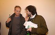 Dominic Burning, Opening of Carl Freidman's Counter Editions, Charlotte Rd. 11 March 2003. © Copyright Photograph by Dafydd Jones 66 Stockwell Park Rd. London SW9 0DA Tel 020 7733 0108 www.dafjones.com