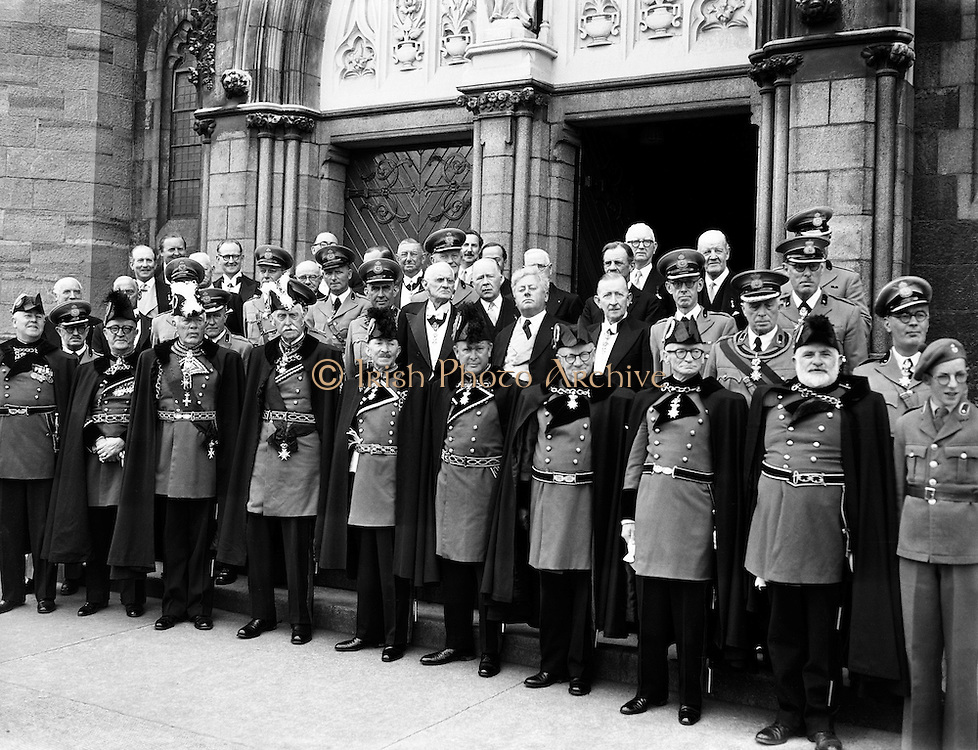 Order of Malta at Mass at St. Mary's Church, Haddington Rd.24/06/57..The origins of the Sovereign, Military Hospitaller Order of St John of Jerusalem, of Rhodes and of Malta - commonly referred to as Knights of Malta or Order of Malta - go back to the eleventh century. .In the City of Jerusalem, about the year 1048 A.D., a charitable Hospice was established for the accommodation of pilgrims to the Holy Land, by merchants from Amalfi in Italy.  The workers in this Hospice were the forerunners of the Knights Hospitallers of the Order of St John of Jerusalem and the Hospice was the first hospital of the Order..Made a religious Order by a bull issued by Pope Pascal II in 1113, because of the attacks on pilgrims, the Order was obliged to take up arms to to defend the sick and the Christian territory and thus became an Order of Knighthood. .After leaving the Holy Land in 1291, the Order established itself for more than 200 years in the island of Rhodes; then for 250 years in Malta.  Today, its mission is an exclusively humanitarian one, as its military role ended with the loss of its territory in Malta in 1798..Today, the Order of Malta is a major global organisation with its headquarters in Rome. Through its Grand Priories, Sub-Priories, National Associations and relief agencies, this 960-year old institution runs hospitals, medical centres, nursing homes, hospices for the terminally ill, homes for the elderly and people with disabilities, ambulance services and training in first aid, in most countries in the world, both developed and developing..The Order of Malta has the status of Permanent Observer at the United Nations and is represented in a wide spectrum of international bodies.  Under the provisions of international law, the Order maintains bilateral diplomatic relations with 100 states, through accredited representatives, and also with the Holy See.  The main purpose of the Order's diplomacy is to facilitate its humanitarian activities in all parts of the wor