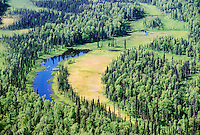 Aerial view of forest and river near Talkeetna Alaska USA