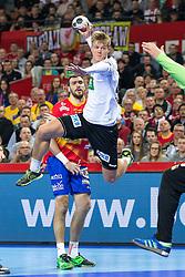 16.01.2016, Hala Stulecia, Breslau, POL, EHF Euro 2016, Spanien vs Deutschland, Gruppe C, im Bild Niclas Pieczkowski (Nr. 43, TuS N-Luebbecke) gegen Arpad Sterbik (Nr. 16, HC Vardar Pro) // during the 2016 EHF Euro group C match between Spain and Germany at the Hala Stulecia in Breslau, Poland on 2016/01/16. EXPA Pictures © 2016, PhotoCredit: EXPA/ Eibner-Pressefoto/ Koenig<br /> <br /> *****ATTENTION - OUT of GER*****