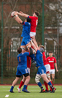 Wales' Robert Brookson and France's Adrien Warion compete for a lineout<br /> <br /> Photographer Bob Bradford/CameraSport<br /> <br /> The 2018 U18 6 Nations Festival - Wales U18 v France U18 - Saturday 31st March 2018 - CCB Centre for Sporting Excellence, Ystrad Mynach Hengoed <br /> <br /> World Copyright © 2018 CameraSport. All rights reserved. 43 Linden Ave. Countesthorpe. Leicester. England. LE8 5PG - Tel: +44 (0) 116 277 4147 - admin@camerasport.com - www.camerasport.com