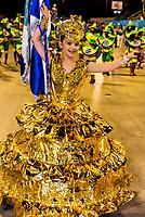 Flag bearer (porta bandeira) in the Children's Carnaval parade in the Sambadrome, Rio de Janeiro, Brazil.Sambadrome, Rio de Janeiro, Brazil.