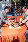 l to r: Ambassador of the Kingdom of The Netherlands in the USA: HE Mrs Renée Jones-Bos and NYC Parks & Recreation Commissioner Adrian Benepe at opening for The NY400 Holland on the Hudson celebrating the values, history and a vision of the future of The Unied States and The Netherlands and held at Bowling Green Park on Septemeber 4, 2009 in New York City