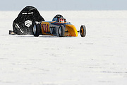 Best-cars-people-atmosphere-photos of 2009 Bonneville Speed Week- Autopower-Bean Bandits' 1929 Ford Roadster, driven by Brad White of San Diego, CA finishes a run at the Bonneville Speed Way. August 9, 2009.  Photo by Colin E. Braley