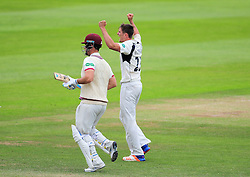 Harry Podmore of Middlesex celebrates the wicket of Jim Allenby.  - Mandatory by-line: Alex Davidson/JMP - 12/07/2016 - CRICKET - Cooper Associates County Ground - Taunton, United Kingdom - Somerset v Middlesex - Day 3 - Specsavers County Championship Division One