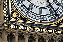 © Licensed to London News Pictures. 08/09/2016. London, UK. Weather damage is visible under the clock face of Big Ben at Parliament.  A Parliamentary committee is recommending that MPs and Peers move out to enable much needed repairs to the crumbling infrastructure of the Medieval and Victorian Palace of Westminster. Photo credit: Peter Macdiarmid/LNP