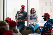 """DULUTH, MN – SEPTEMBER 9: Supporters look on before Donald Trump, Jr.'s """"Make America Great Again"""" rally in Duluth, Minnesota on Wednesday, Sept. 9, 2020."""
