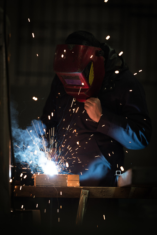 25 February 2020, Jerusalem: A student practices welding, as class is underway in Metal Work at the vocational training centre in Beit Hanina. The Lutheran World Federation's vocational training centre in Beit Hanina offers vocational training for Palestinian youth across a range of different professions, providing them with the tools needed to improve their chances of finding work.