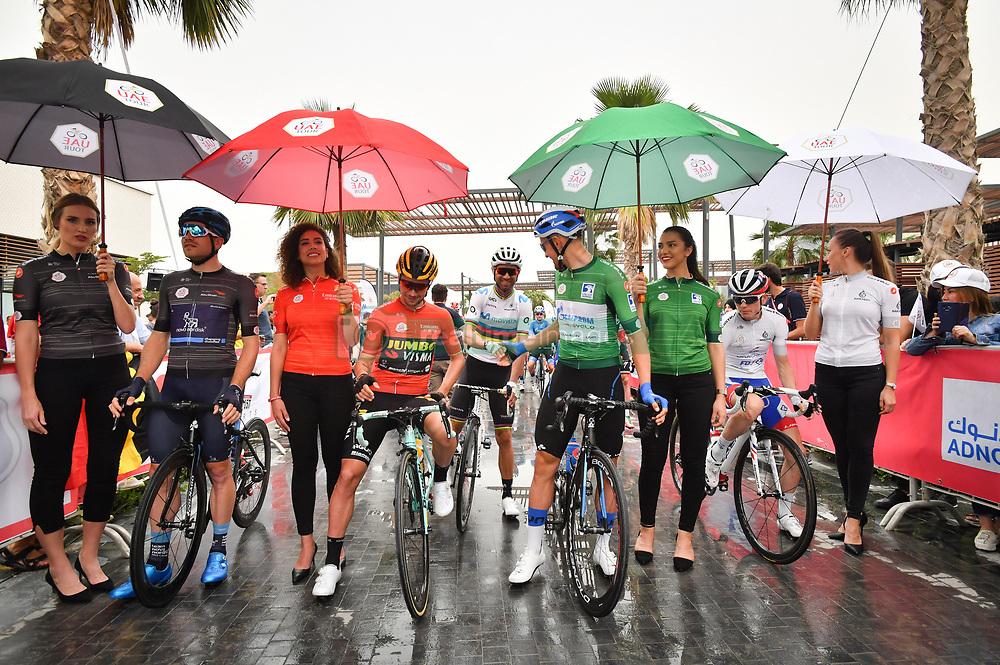 March 1, 2019 - Emirati Arabi Uniti - Foto LaPresse - Massimo Paolone.1 Marzo 2019 Emirati Arabi Uniti.Sport Ciclismo.UAE Tour 2019 - Tappa 6 - da Ajman a Jebel Jais - 180 km.Nella foto: Charles Planet (Team Novo Nordisk), Primoz Roglic (Team Jumbo - Visma), VALVERDE Alejandro (ESP) MOVISTAR TEAM, Stepan Kuriyanov (Gazprom - RusVelo), David Gaudu (Groupama - FDJ)..Photo LaPresse - Massimo Paolone.March 1, 2019 United Arab Emirates.Sport Cycling.UAE Tour 2019 - Stage 6 - Ajman to Jebel Jais - 111,8 miles.In the pic: Charles Planet (Team Novo Nordisk), Primoz Roglic (Team Jumbo - Visma), VALVERDE Alejandro (ESP) MOVISTAR TEAM, Stepan Kuriyanov (Gazprom - RusVelo), David Gaudu  (Credit Image: © Massimo Paolone/Lapresse via ZUMA Press)