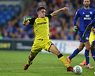 Ben Fox of Burton Albion in action. Carabao Cup 2nd round match, Cardiff city v Burton Albion at the Cardiff City Stadium in Cardiff, South Wales on Tuesday 22nd August  2017.<br /> pic by Andrew Orchard, Andrew Orchard sports photography.