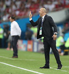 SOCHI, July 7, 2018  Head coach Stanislav Cherchesov of Russia gives instructions to players during the 2018 FIFA World Cup quarter-final match between Russia and Croatia in Sochi, Russia, July 7, 2018. (Credit Image: © Cao Can/Xinhua via ZUMA Wire)