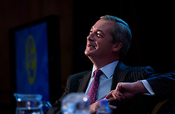 © Licensed to London News Pictures. 28/11/2016. London, UK. Former party leader NIGEL FARAGE on stage during the announcement of the new leader of the UK Independence Party (UKIP), at the Emmanuel Centre in Westminster London, where Paul Nuttall was elected the new leader. Photo credit: Ben Cawthra/LNP