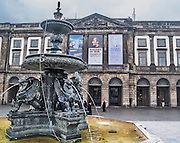 Oporto, December 2012. Oporto University, founded in 1911. One of the 100 bests in Europe. Fountain with winged lions