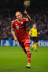 Bayern Forward Arjen Robben (NED) celebrates scoring a goal during the second half of the match - Photo mandatory by-line: Rogan Thomson/JMP - Tel: Mobile: 07966 386802 - 02/10/2013 - SPORT - FOOTBALL - Etihad Stadium, Manchester - Manchester City v Bayern Munich - UEFA Champions League Group D.