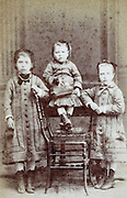 portrait three little children late 1800s