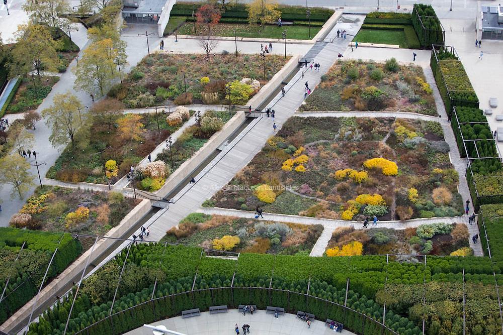 Pedestrian walkway within Maggie Daley Park, designed by Michael Van Valkenburgh Associates