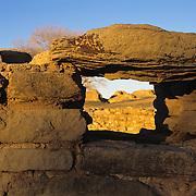 Excavated ceromonial kiva in Aztec Ruins National Monument, NM.