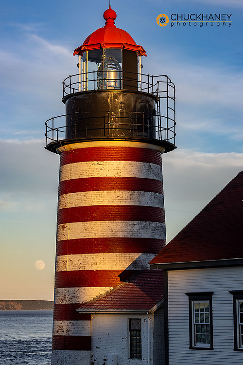 West Quoddy Head Lightouse is easternmost most point in USA near Lubec, Maine, USA