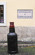 Wine shop. Street view. Alfama district. Lisbon, Portugal