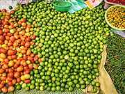 16 JUNE 2016 - PAKSE, CHAMPASAK, LAOS: A woman sells tomato, limes and chilies in Dao Heuang Market, the largest market in Pakse. Pakse is the capital of Champasak province in southern Laos. It sits at the confluence of the Xe Don and Mekong Rivers. It's the gateway city to 4,000 Islands, near the border of Cambodia and the coffee growing highlands of southern Laos.      PHOTO BY JACK KURTZ