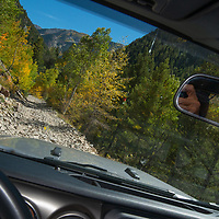 A jeep negotiates the rough road to Crystal, Colorado, a difficult 4x4 route.