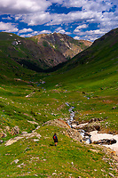 Hiking in American Basin, San Juan Mountains (range of the Rocky Mountains), Southwest Colorado USA
