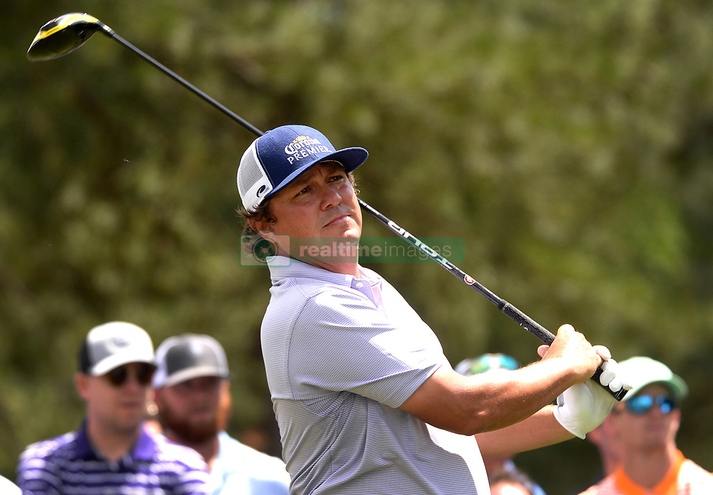 May 4, 2019 - Charlotte, NC, USA - Jason Dufner watches his drive from the 3rd tee at Quail Hollow Club in Charlotte, N.C., during third-round action of the Wells Fargo Championship on Saturday, May 4, 2019. (Credit Image: © TNS via ZUMA Wire)