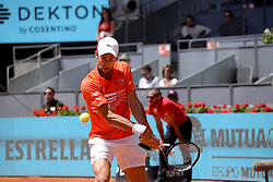 May 9, 2019 - Madrid, Spain - Novak Đoković (SRB) in his match against Jérémy Chardy (FRA) during day six of the Mutua Madrid Open at La Caja Magica in Madrid on 9th May, 2019. (Credit Image: © Juan Carlos Lucas/NurPhoto via ZUMA Press)