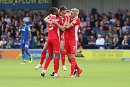 Scunthorpe United midfielder Josh Morris (11) celebrating after scoring goal during the EFL Sky Bet League 1 match between AFC Wimbledon and Scunthorpe United at the Cherry Red Records Stadium, Kingston, England on 15 September 2018.