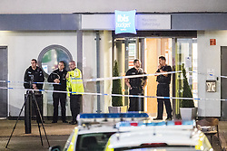 © Licensed to London News Pictures. 10/08/2017. Salford, UK. Police at the scene at the Ibis hotel in Salford Quays where a young boy was killed in a collision with a car earlier this evening (Thursday 10th August 2017) . Photo credit: Joel Goodman/LNP