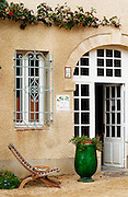 The entrance to the tasting room, an old deck chair. Chateau Mourgues du Gres Grès, Costieres de Nimes, Bouches du Rhone, Provence, France, Europe
